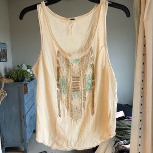 Casual and comfy beaded Free People tank top